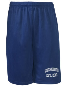 "George Washington Elementary School Patriots Long Mesh Shorts, 9"" Inseam"