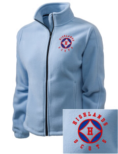 Highlands High School Scots Embroidered Women's Fleece Full-Zip Jacket