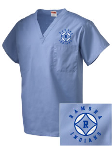 Ramona Junior High School Indians Embroidered V-Neck Scrub Top