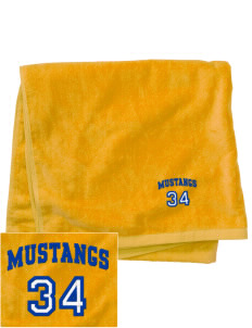 Milor Continuation Senior High School Mustangs Embroidered Beach Towel