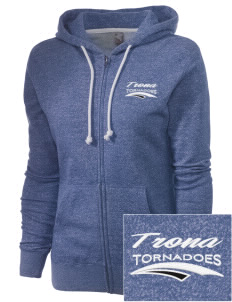 Trona High School Tornadoes Embroidered Women's Marled Full-Zip Hooded Sweatshirt