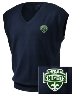 Emerald Middle School Knights Embroidered Men's Fine-Gauge V-Neck Sweater Vest