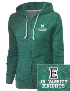 Emerald Middle School Knights Embroidered Women's Marled Full-Zip Hooded Sweatshirt