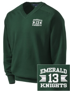 Emerald Middle School Knights Embroidered Men's V-Neck Sweater