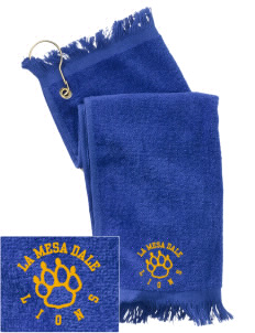 La Mesa Dale Elementary School Lions  Embroidered Grommeted Finger Tip Towel