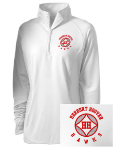 Herbert Hoover Middle School Hawks Embroidered Ladies Stretched Half-Zip Pullover