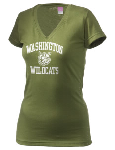 Washington Elementary School Wildcats Juniors' Fine Jersey V-Neck Longer Length T-shirt