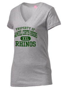 Samuel Curtis Rogers Middle School Rhinos Juniors' Fine Jersey V-Neck Longer Length T-shirt