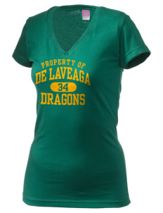 De Laveaga Elementary School Dragons Juniors' Fine Jersey V-Neck Longer Length T-shirt