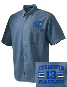 Fitch Mountain Primary School Eagles  Embroidered Men's Denim Short Sleeve
