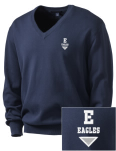 Elkins Elementary School Eagles Embroidered Men's V-Neck Sweater