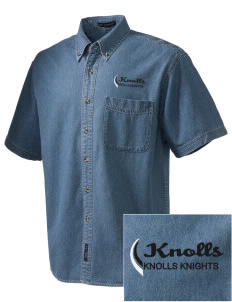 Knolls Elementary School Knolls Knights  Embroidered Men's Denim Short Sleeve