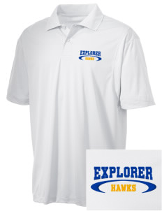 Explorer Elementary School Hawks Embroidered Men's Micro Pique Polo