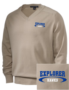 Explorer Elementary School Hawks Embroidered Men's V-Neck Sweater