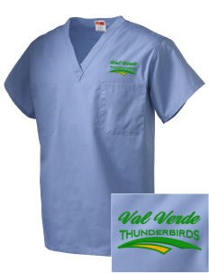 Val Verde Elementary School Thunderbirds Embroidered V-Neck Scrub Top