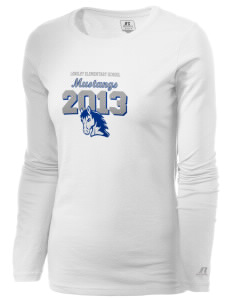 Longley Elementary School Mustangs  Russell Women's Long Sleeve Campus T-Shirt