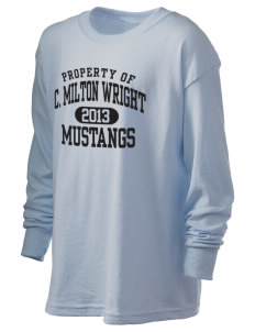C Milton Wright High School Mustangs Kid's 6.1 oz Long Sleeve Ultra Cotton T-Shirt
