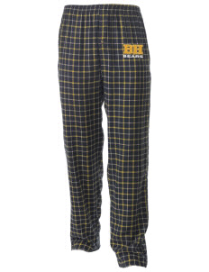 Bret Harte Elementary School Bears Men's Button-Fly Collegiate Flannel Pant with Distressed Applique