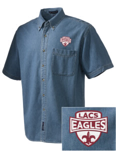 Lake Arrowhead Christian School Eagles  Embroidered Men's Denim Short Sleeve
