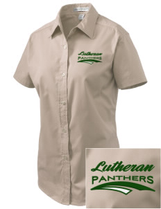 Lutheran High School Panthers Embroidered Women's Easy Care Short Sleeve Shirt