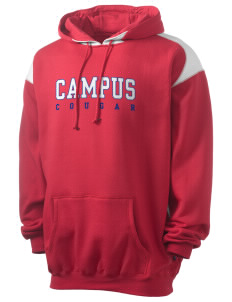 campus community school cougar Men's Pullover Hooded Sweatshirt with Contrast Color