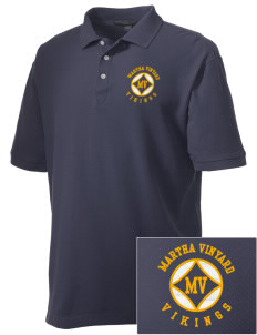 Martha Vinyard Elementary School Vikings Embroidered Men's Performance Plus Pique Polo