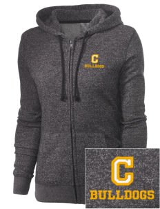 Central Elementary School Bulldogs Embroidered Women's Marled Full-Zip Hooded Sweatshirt