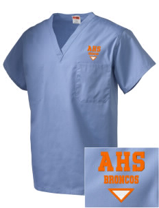 Austin High School Broncos Embroidered V-Neck Scrub Top