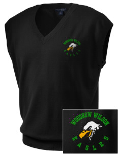 Woodrow Wilson Elementary School Eagles Embroidered Men's Fine-Gauge V-Neck Sweater Vest