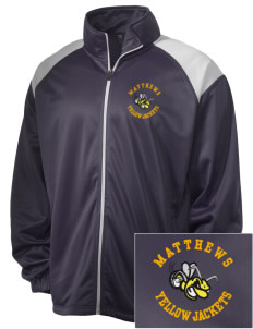 Matthews Elementary School Yellow Jackets Embroidered Men's Tricot Track Jacket