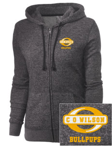 C O Wilson Middle School Bullpups Embroidered Women's Marled Full-Zip Hooded Sweatshirt