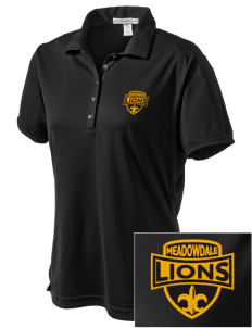 Meadowdale High School Lions  Embroidered Women's Bamboo Charcoal Birdseye Jacquard Polo