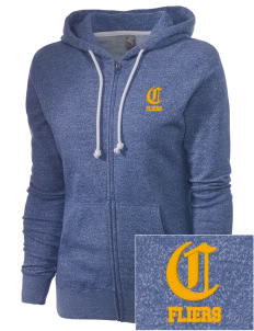 Clyde High School Fliers Embroidered Women's Marled Full-Zip Hooded Sweatshirt