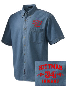 Rittman High School Indians  Embroidered Men's Denim Short Sleeve