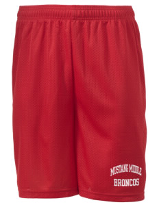 "Mustang Middle School Broncos Men's Mesh Shorts, 7-1/2"" Inseam"