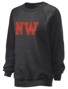 Northwest 6th Grade Center Wildcats Unisex Alternative Eco-Fleece Raglan Sweatshirt with Distressed Applique