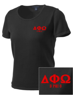 Delta Phi Omega Embroidered Women's Fine-Gauge Scoop Neck Sweater