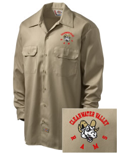 Clearwater Valley Elementary School Rams Embroidered Dickies Men's Long-Sleeve Workshirt