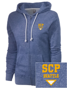 St Catherine Parish Seattle Embroidered Women's Marled Full-Zip Hooded Sweatshirt