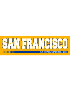 "St Emydius Parish San Francisco Bumper Sticker 11"" x 3"""