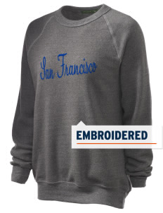 St Emydius Parish San Francisco Embroidered Unisex Alternative Eco-Fleece Raglan Sweatshirt