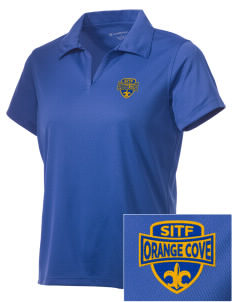 St Isadore The Farmer Parish Orange Cove Embroidered Women's Double Mesh Polo