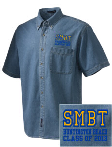 St Marys By The Sea Parish (1977) Huntington Beach  Embroidered Men's Denim Short Sleeve