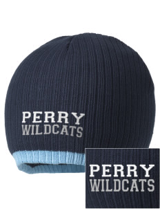 Perry Elementary School Wildcats Embroidered Champion Striped Knit Beanie