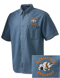 Mediapolis Middle School Bulldogs  Embroidered Men's Denim Short Sleeve