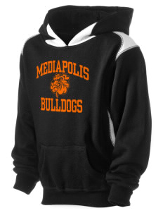 Mediapolis Middle School Bulldogs Kid's Pullover Hooded Sweatshirt with Contrast Color