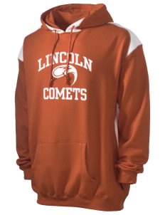Lincoln Elementary School Comets Men's Pullover Hooded Sweatshirt with Contrast Color