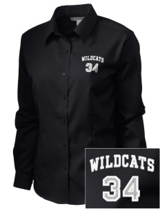 Menlo Elementary School Wildcats  Embroidered Women's Long Sleeve Non-Iron Twill Shirt