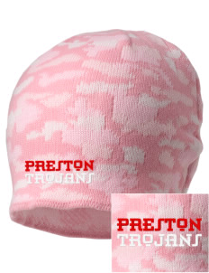 Preston High School Trojans Embroidered Camo Beanie