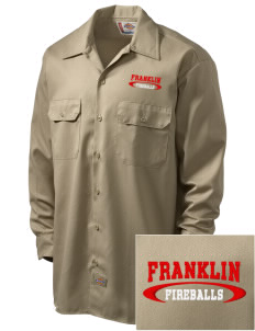 Franklin Elementary School Fireballs Embroidered Dickies Men's Long-Sleeve Workshirt